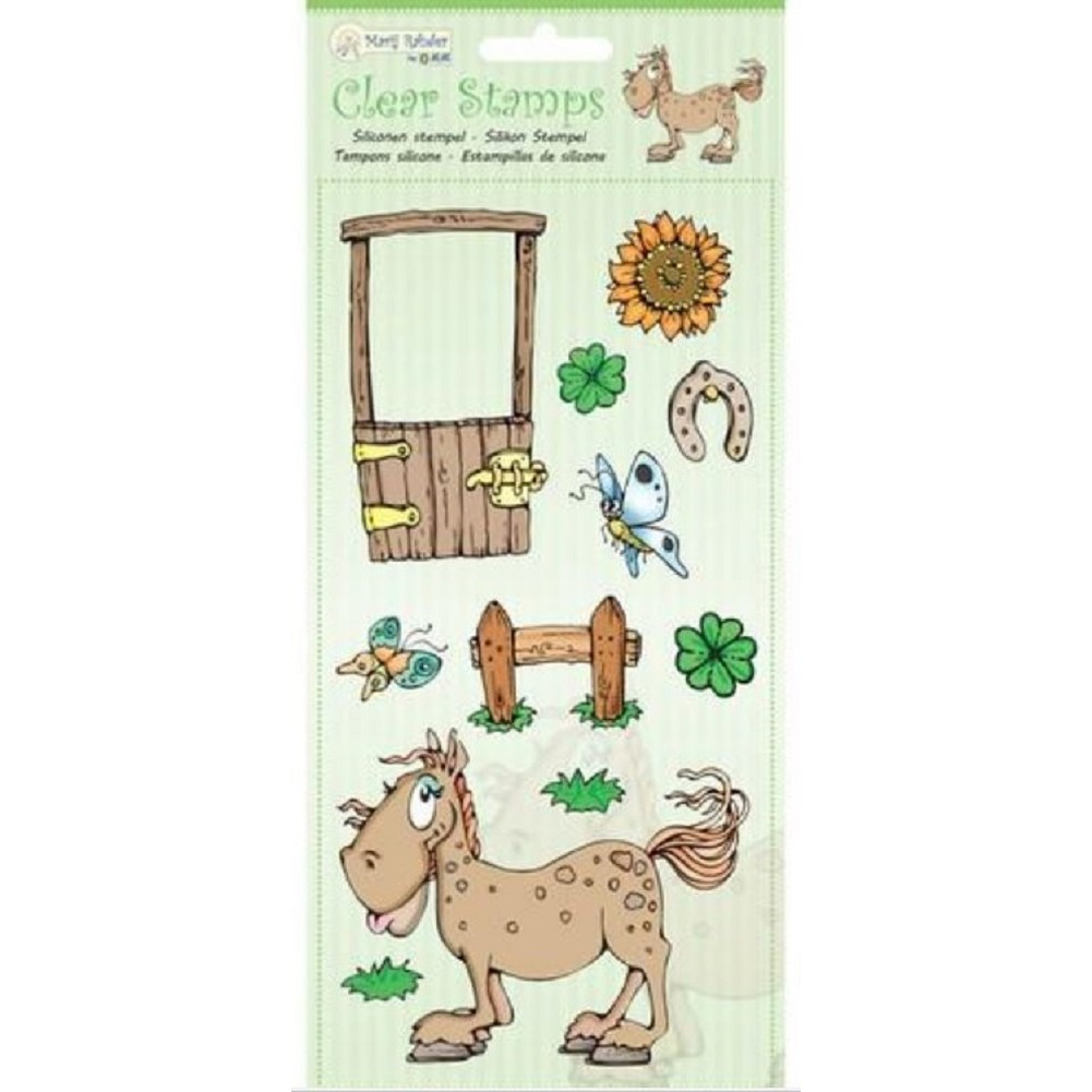Marij Rahder Equestrian Farm Horse Fence Pasture Scene Set Cling Rubber Stamp