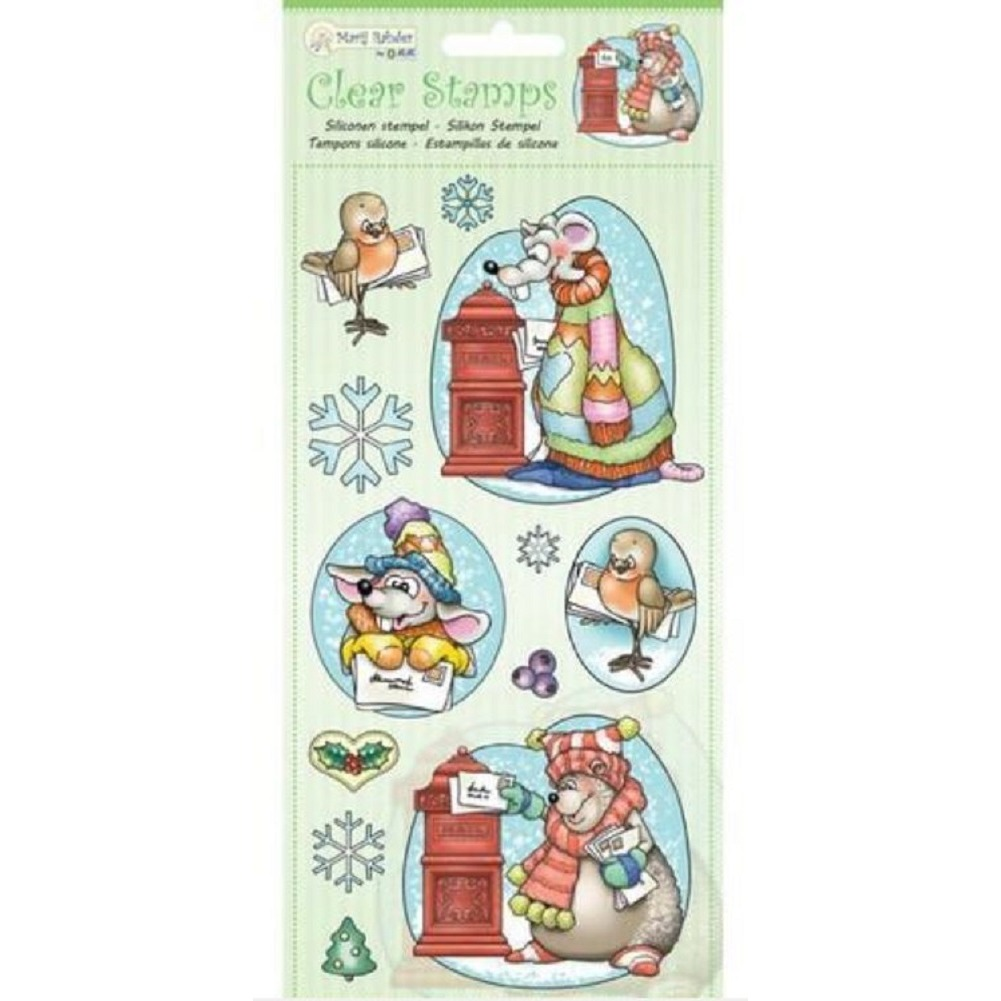 Marij Rahder Winter Mail Bear and Mouse Friends Scene Set Cling Rubber Stamp