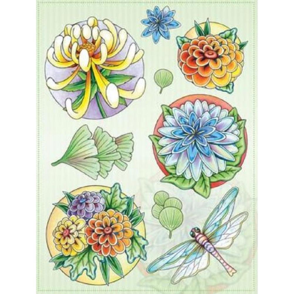 Marij Rahder Dragonfly and Flowers  Garden Botanical Set Cling Rubber Stamp