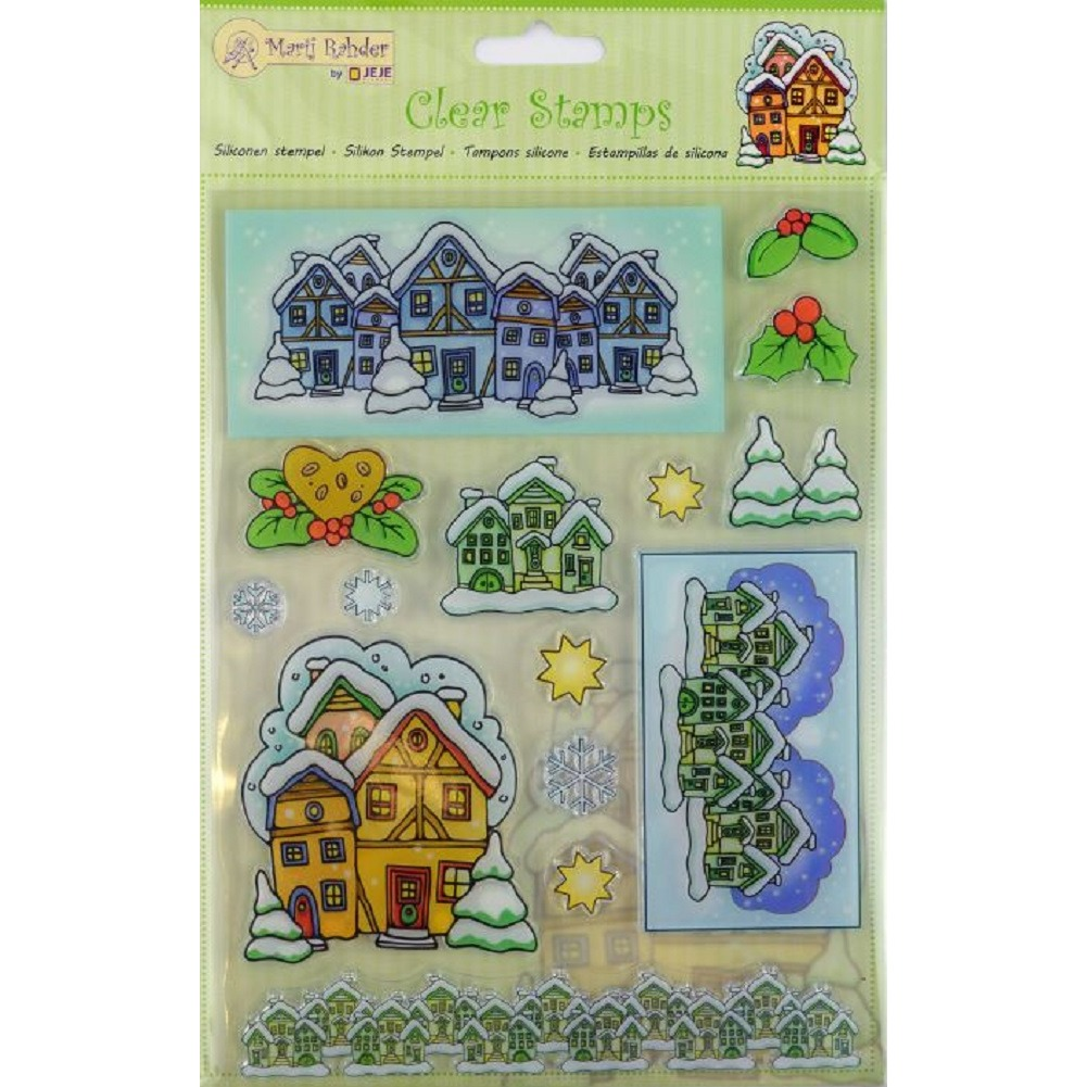 Marij Rahder Christmas Holiday Village Homes Scene Set Cling Rubber Stamp