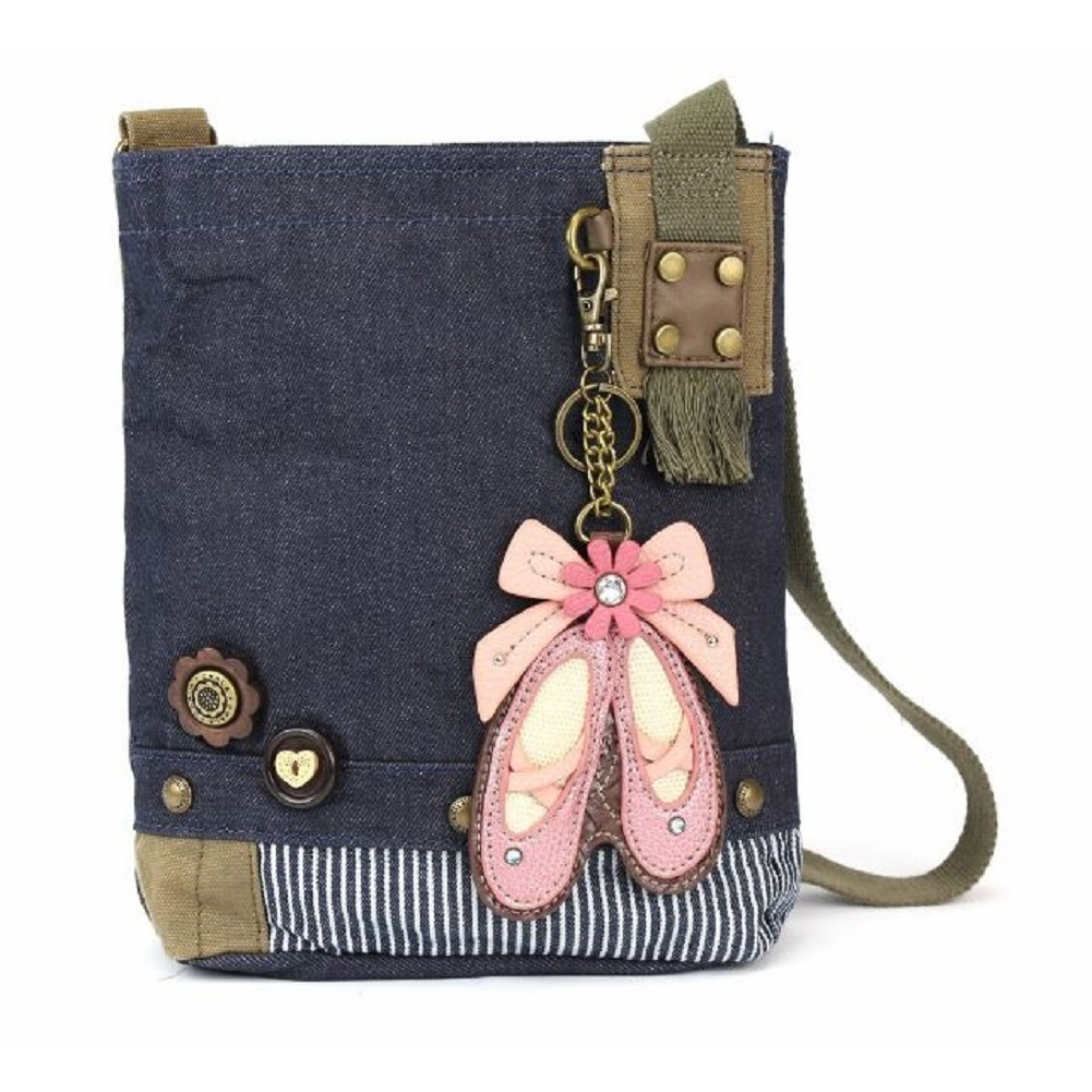 Chala Purse Handbag Denim Canvas Crossbody With Key Chain Tote Bag Ballerina Shoes