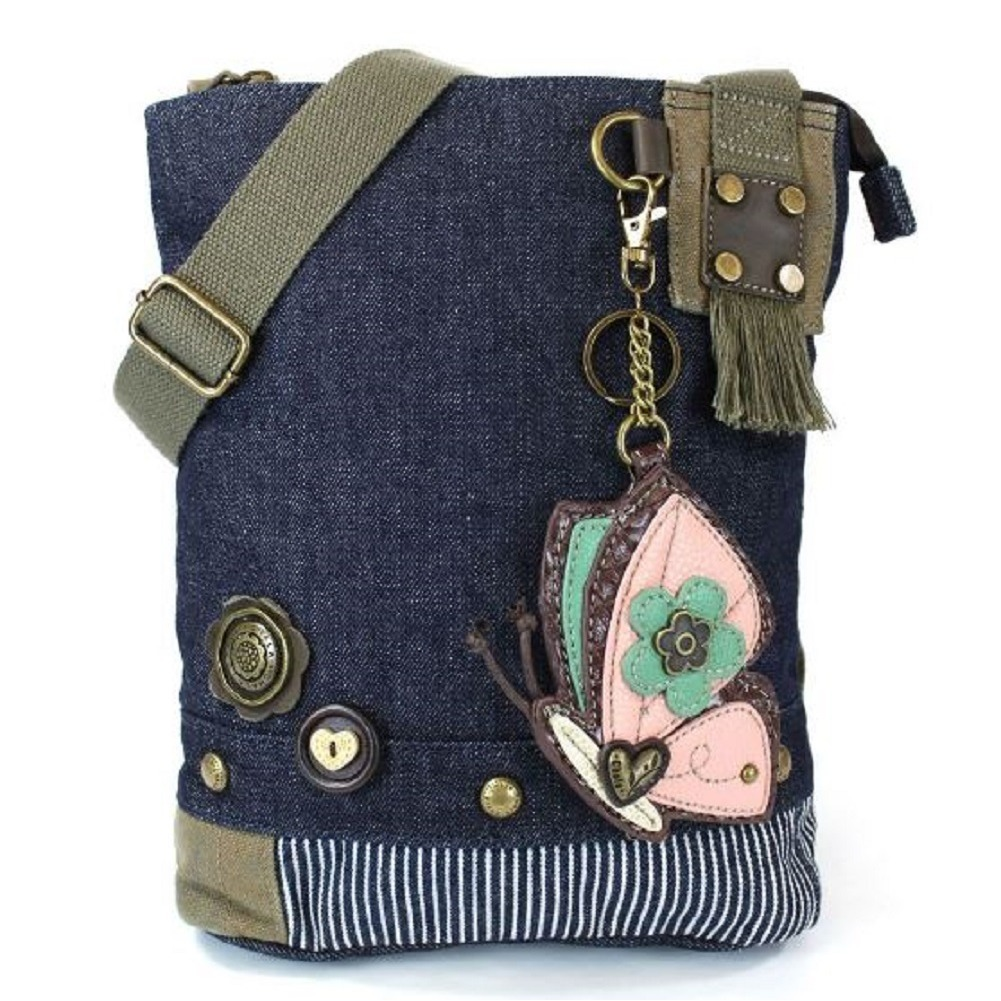 Chala Purse Handbag Denim Canvas Crossbody With Key Chain Tote Bag Butterfly
