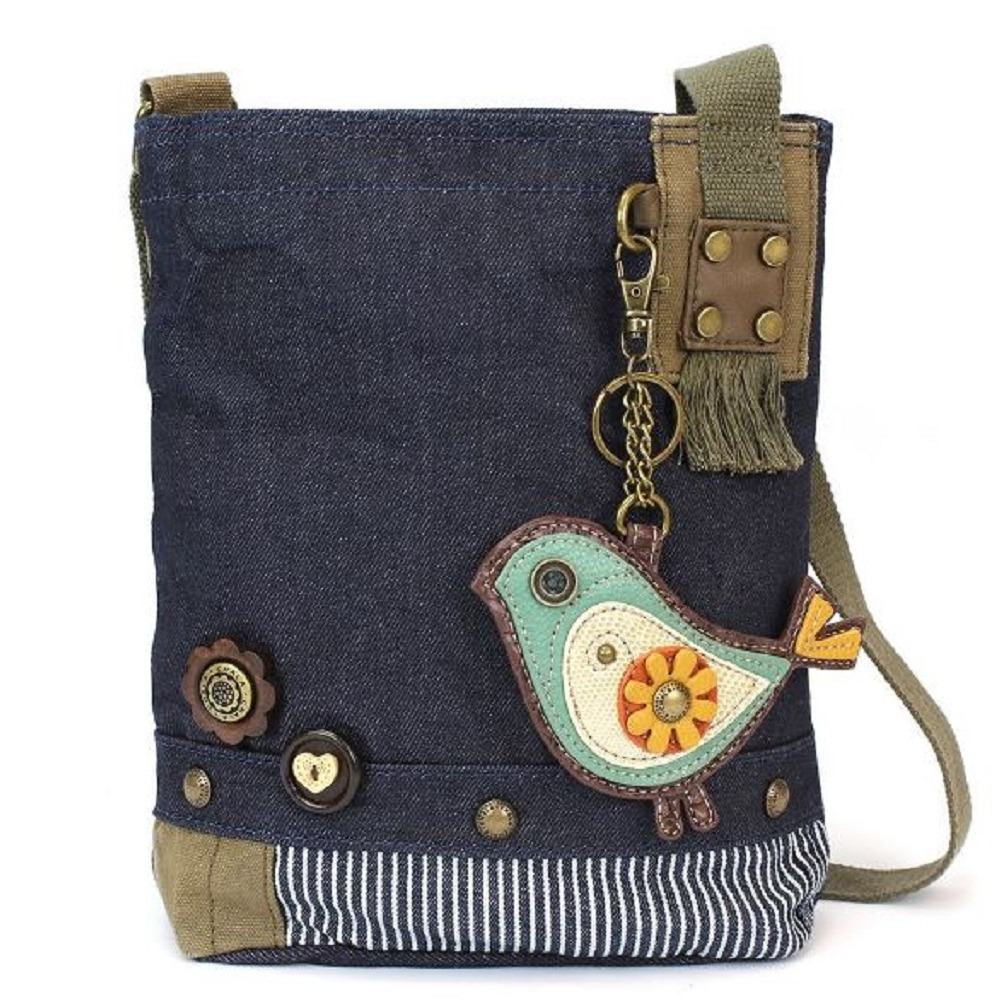 Chala Purse Handbag Denim Canvas Crossbody With Key Chain Tote Baby Biddle Bird