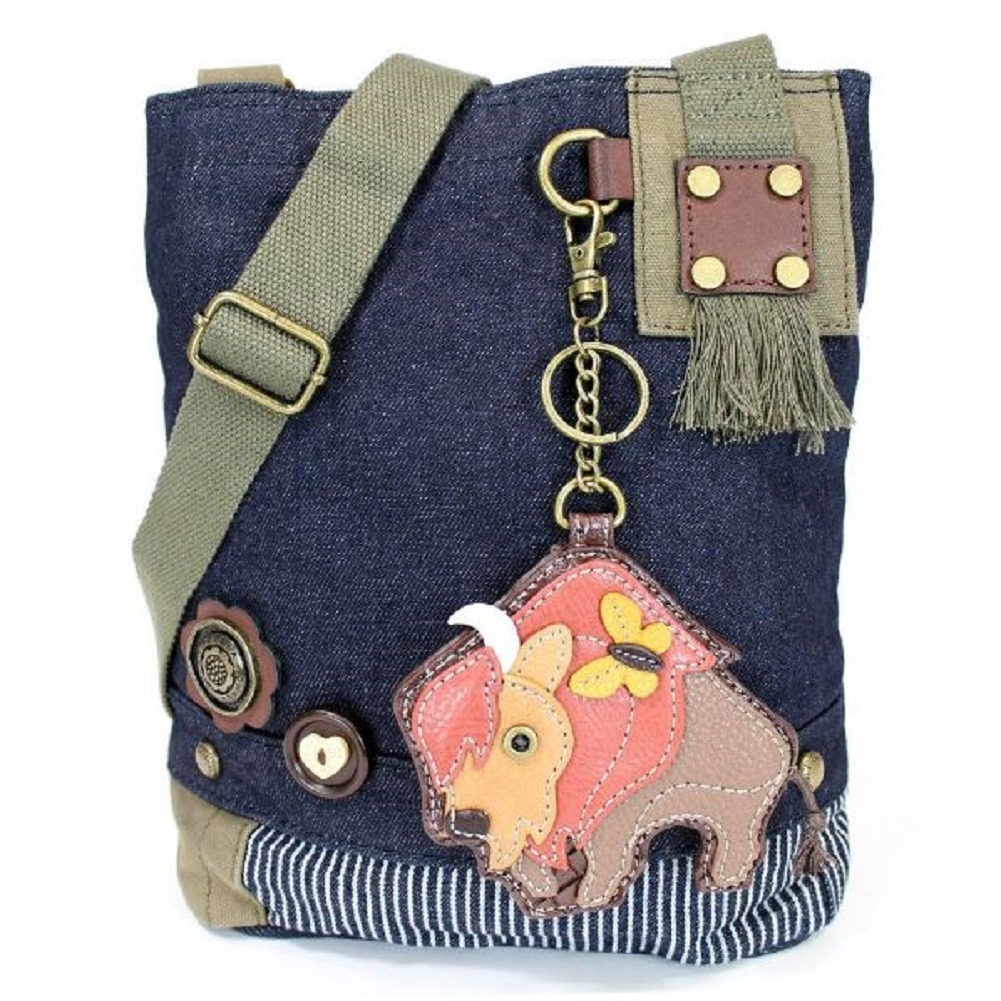 Chala Purse Handbag Denim Canvas Crossbody With Key Chain Tote Buffalo