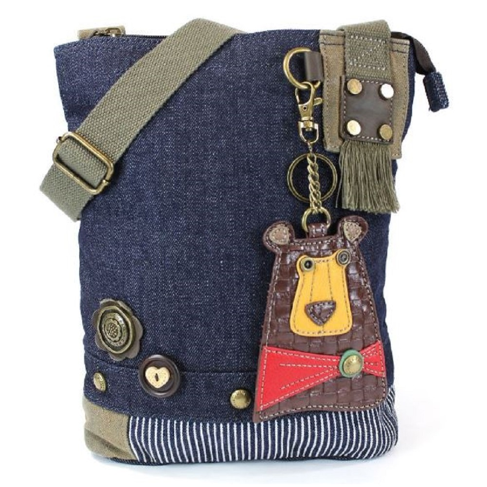 Chala Purse Handbag Denim Canvas Crossbody With Key Chain Tote Brown Bear