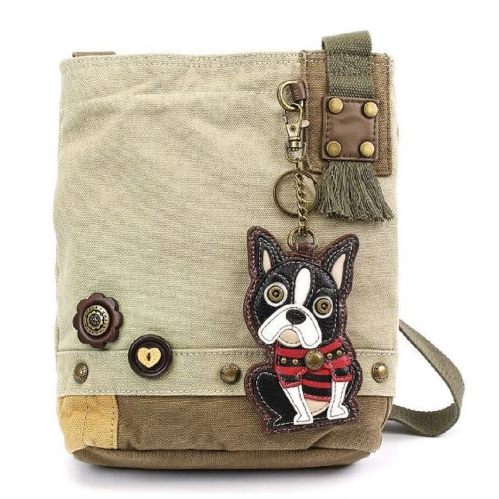 Chala Purse Handbag Canvas Crossbody with Key Chain Tote Bag Boston Terrier Dog