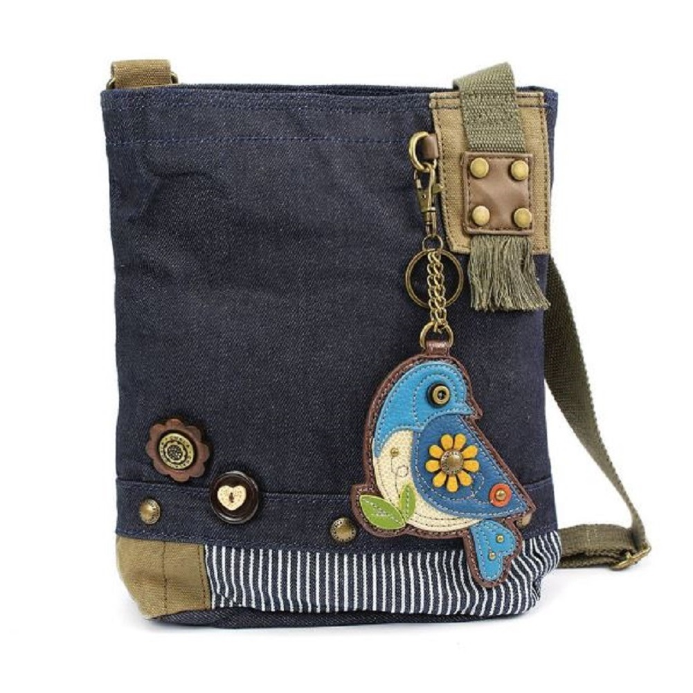 Chala Purse Handbag Denim Canvas Crossbody With Key Chain Tote  Blue Bird