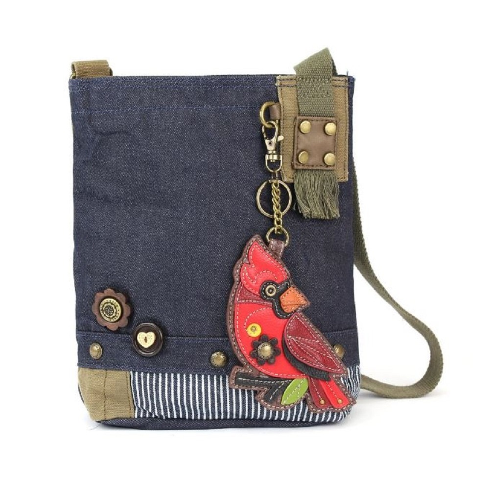 Chala Purse Handbag Denim Canvas Crossbody With Key Chain Tote  Cardinal Bird