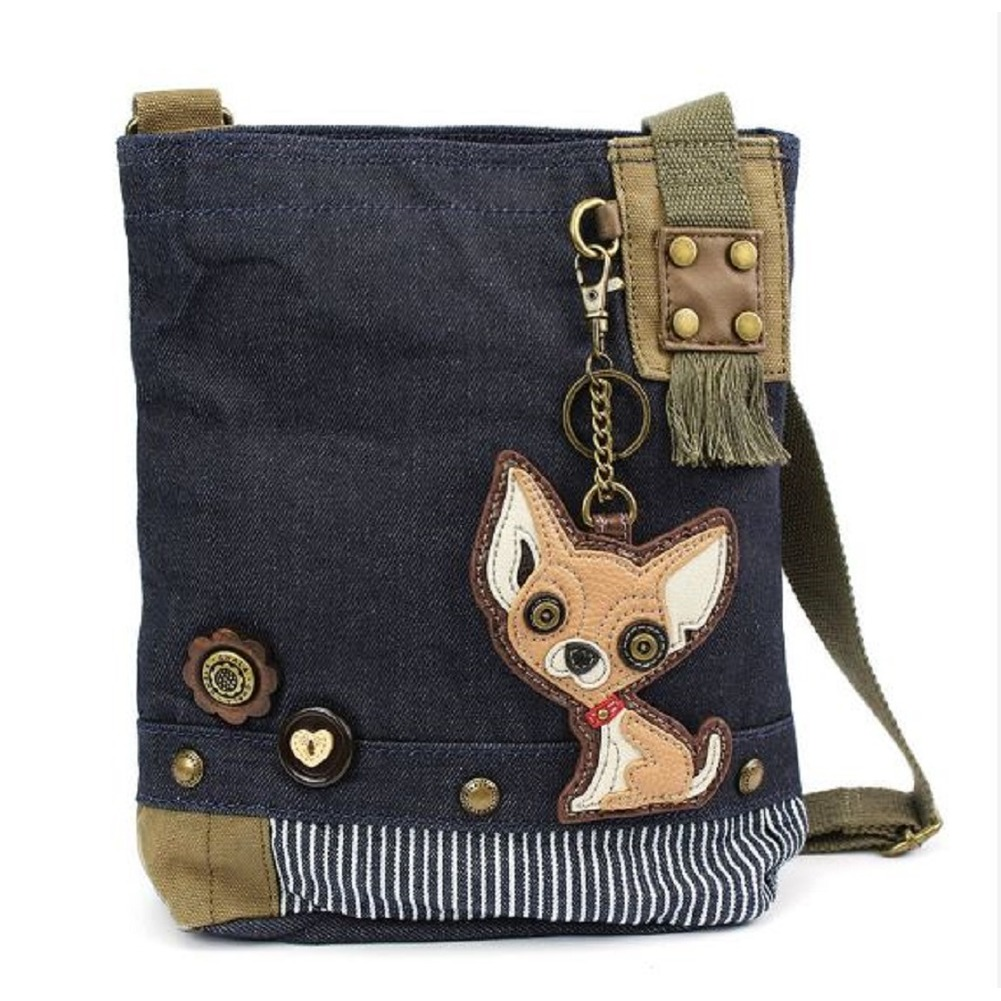 Chala Purse Handbag Denim Canvas Crossbody With Key Chain Tote Chihuahua Dog