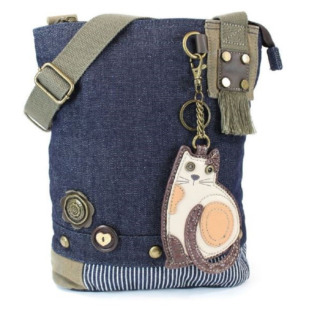 Chala Purse Handbag Denim Canvas Crossbody With Key Chain Tote Kitten Kitty Cat