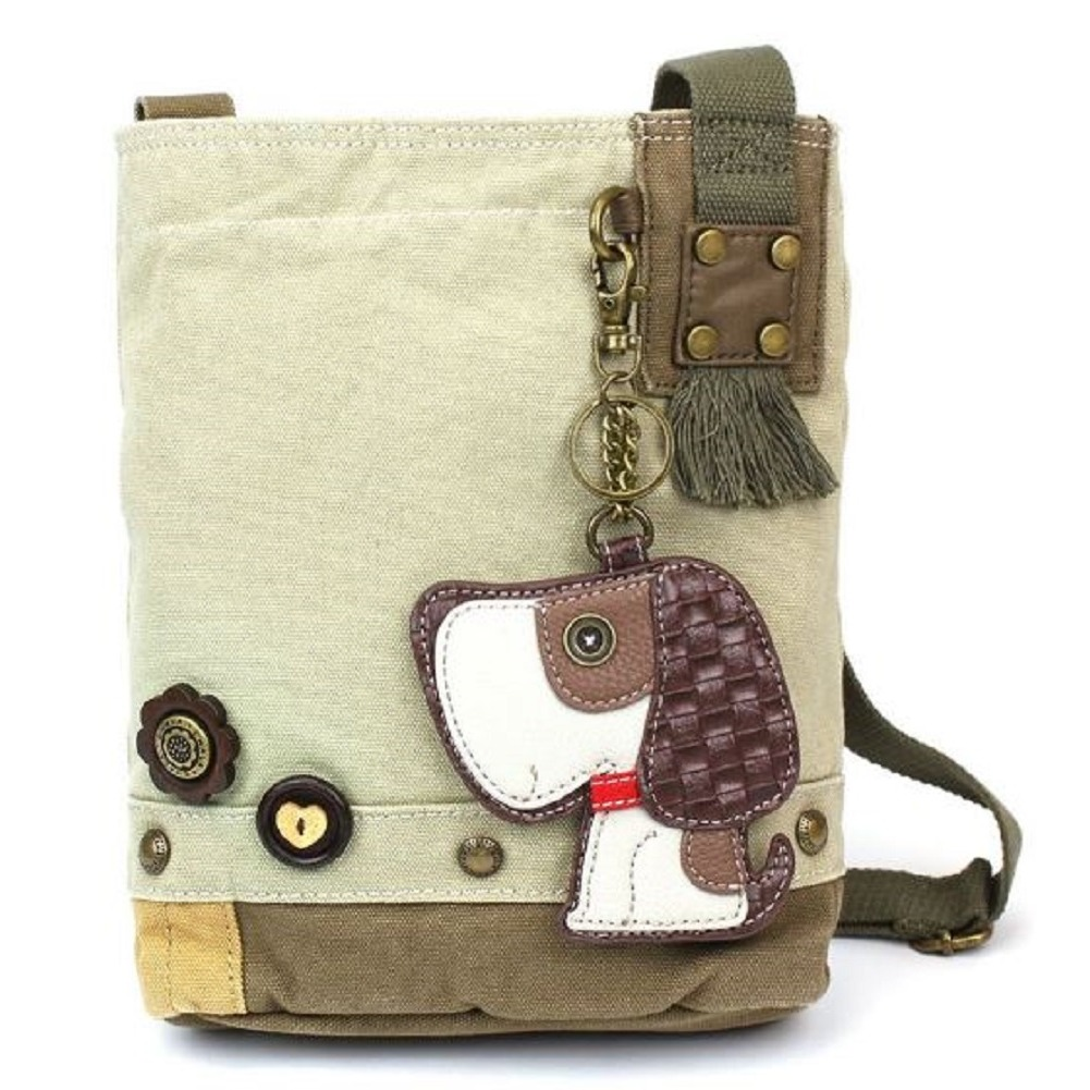 Chala Purse Handbag Sand Canvas Crossbody with Key Chain Tote Bag Puppy Dog
