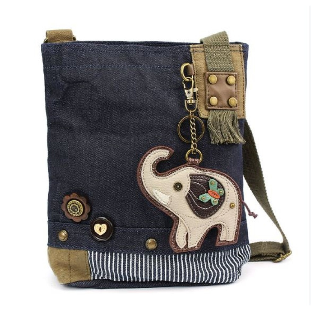 Chala Purse Handbag Denim Canvas Crossbody With Key Chain Tote Grey Elephant