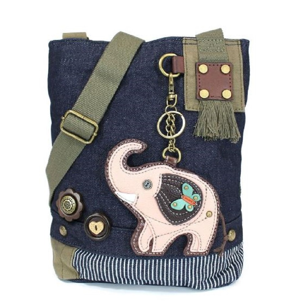Chala Purse Handbag Denim Canvas Crossbody With Key Chain Tote Pink Elephant