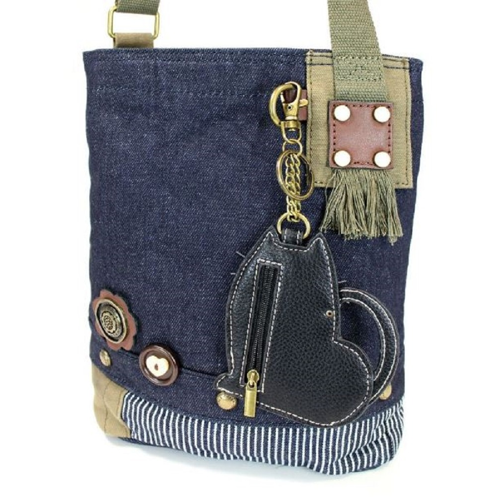 32d1943e0 ... Chala Purse Handbag Denim Canvas Crossbody With Key Chain Tote Fat Cat