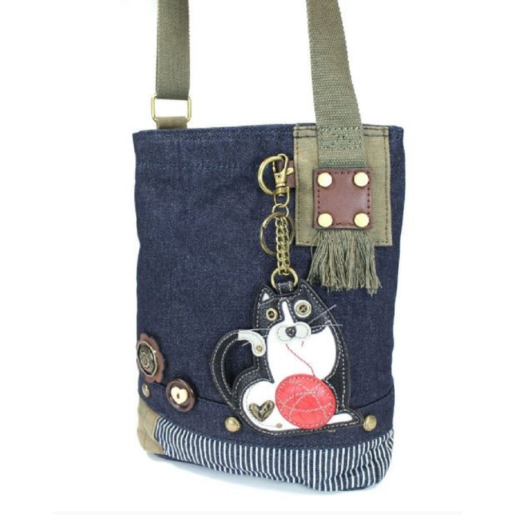 Chala Purse Handbag Denim Canvas Crossbody With Key Chain Tote Fat Cat