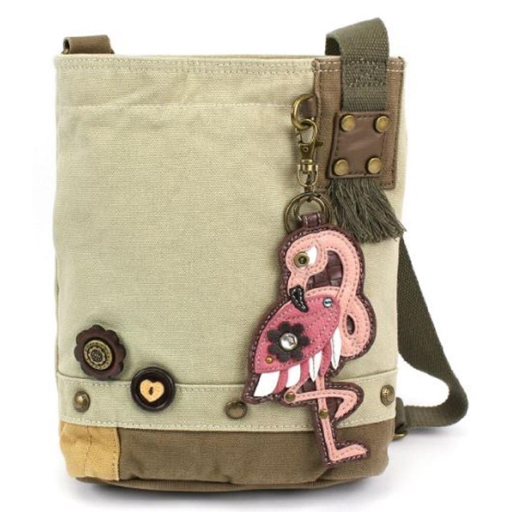 Chala Purse Handbag Sand Canvas Crossbody with Key Chain Tote Bag Pink Flamingo