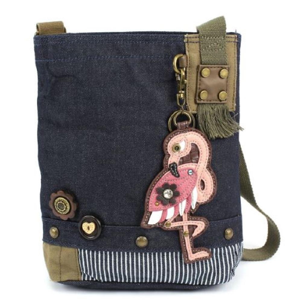 Chala Purse Handbag Denim Canvas Crossbody With Key Chain Tote Pink Flamingo