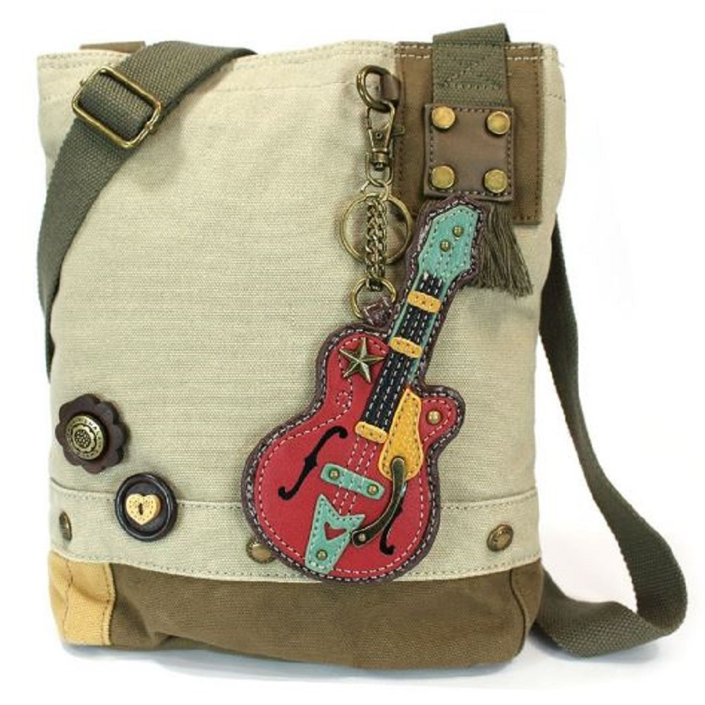 Chala Purse Handbag Sand Canvas Crossbody with Key Chain Tote Bag Music Guitar