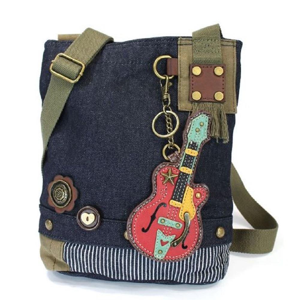 Chala Purse Handbag Denim Canvas Crossbody With Key Chain Tote Musical Guitar
