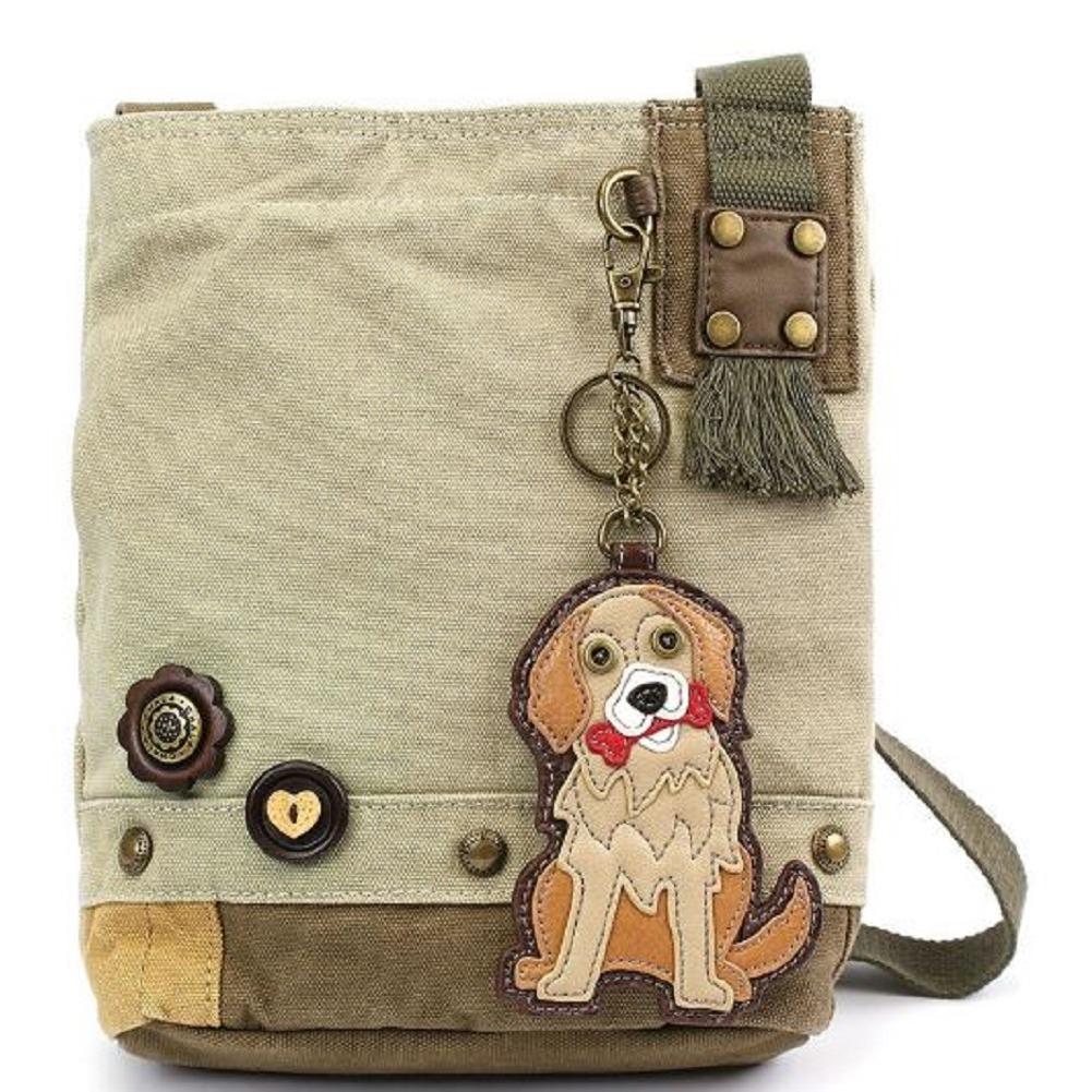 Chala Purse Handbag Sand Canvas Crossbody with Key Chain Tote Bag Golden Retriever