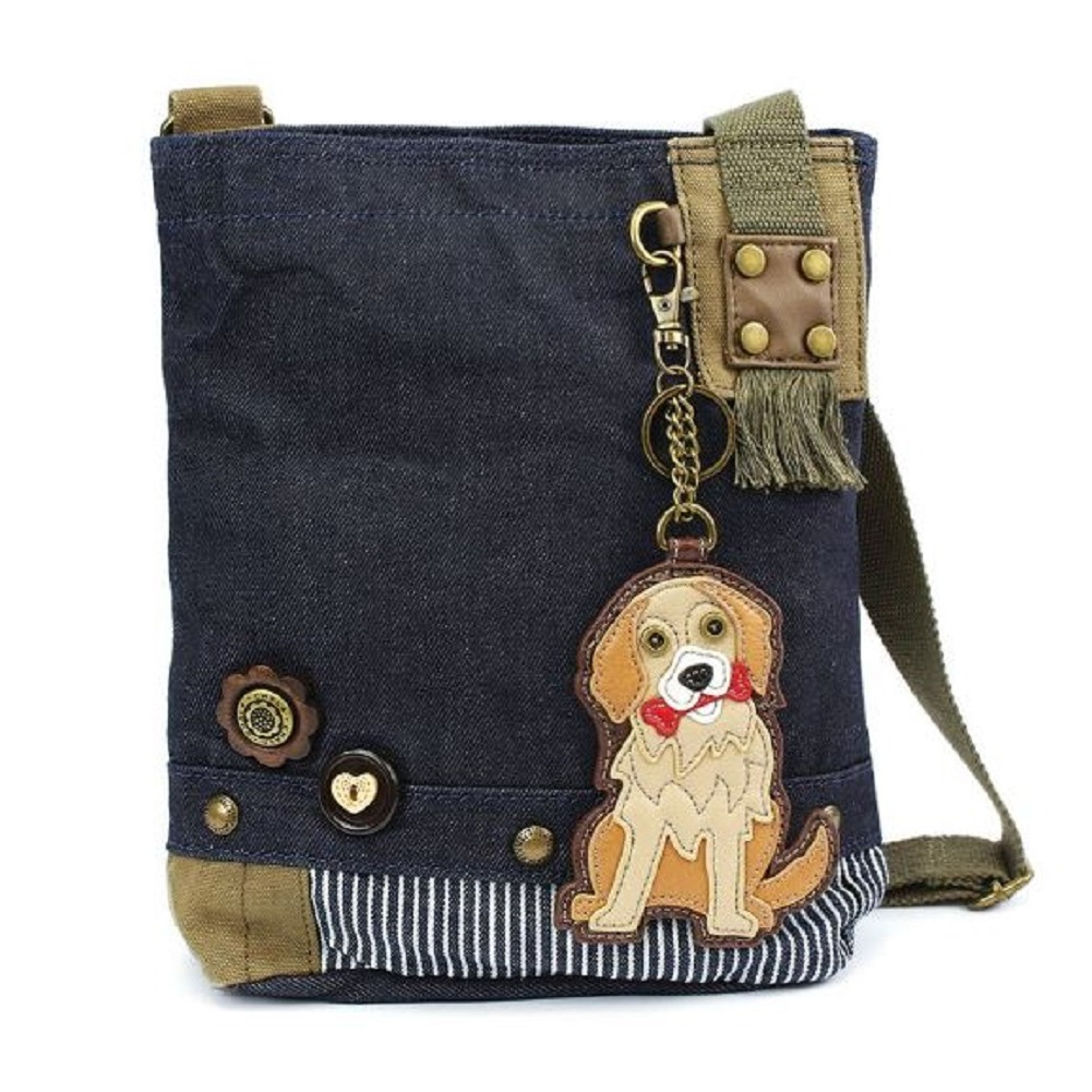 Chala Purse Handbag Denim Canvas Crossbody With Key Chain Tote Golden Retriever Dog