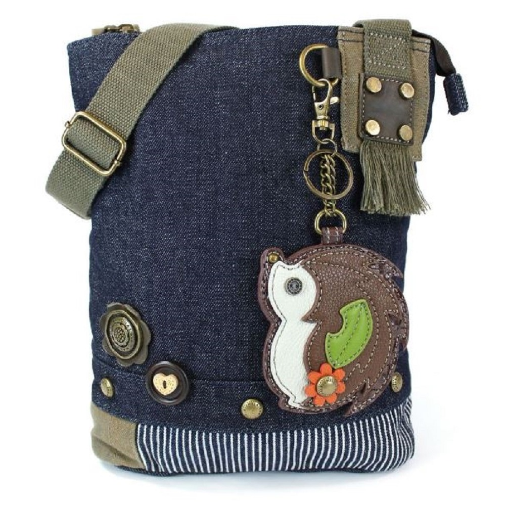 Chala Purse Handbag Denim Canvas Crossbody With Key Chain Tote Hedgehog