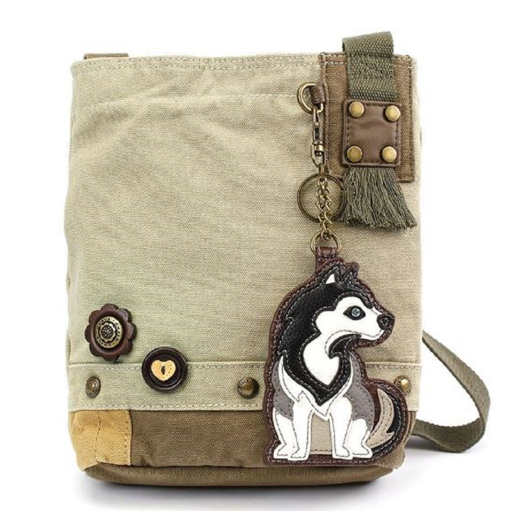 Chala Purse Handbag Sand Canvas Crossbody & Key Chain Tote Bag Husky Puppy Dog
