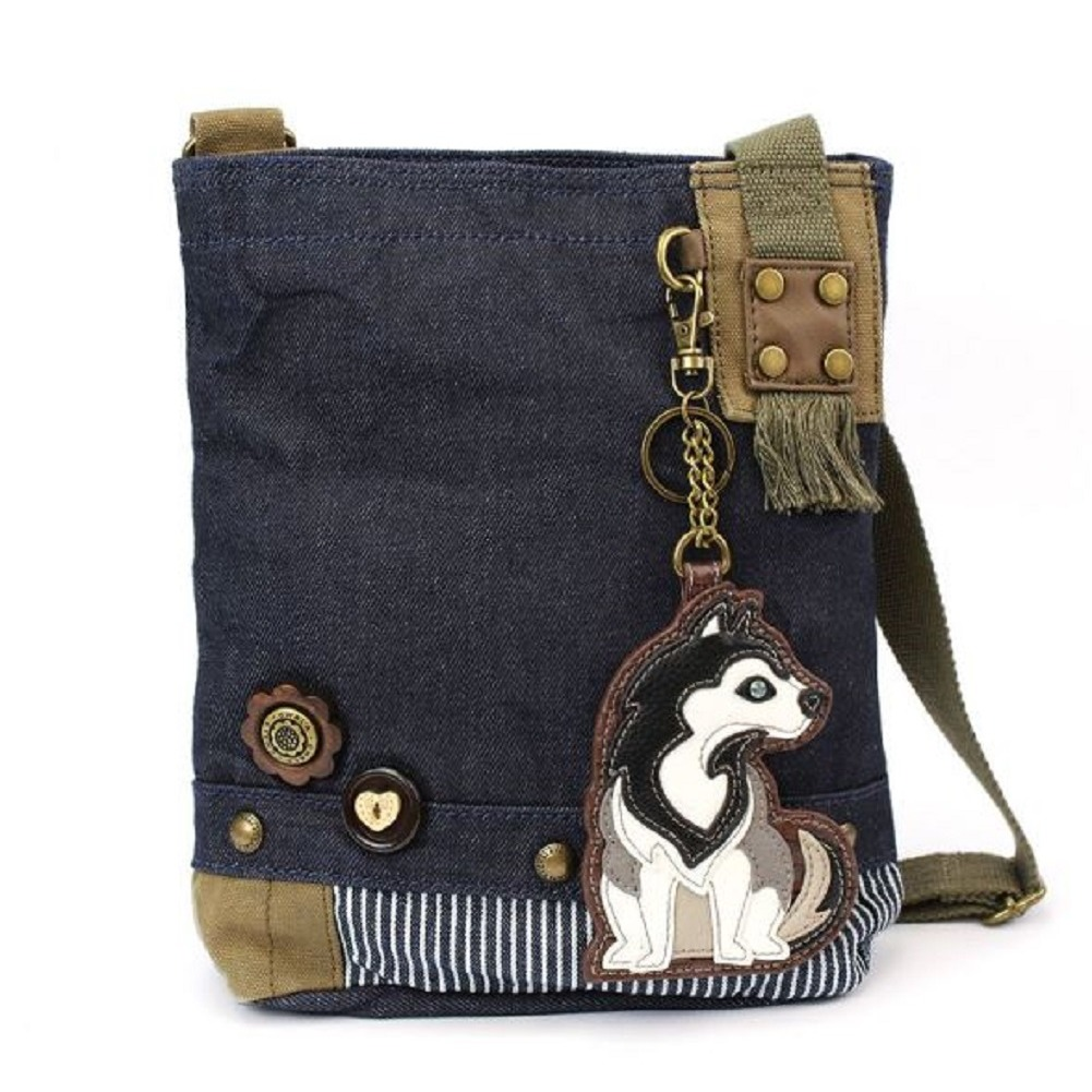 Chala Purse Handbag Denim Canvas Crossbody With Key Chain Tote Husky Puppy Dog