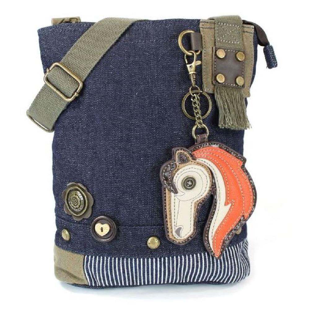 Chala Purse Handbag Denim Canvas Crossbody With Key Chain Tote Majestic Horse