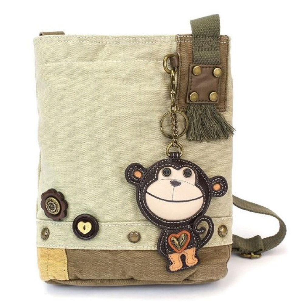Chala Purse Handbag Sand Canvas Crossbody & Key Chain Tote Bag Monkey