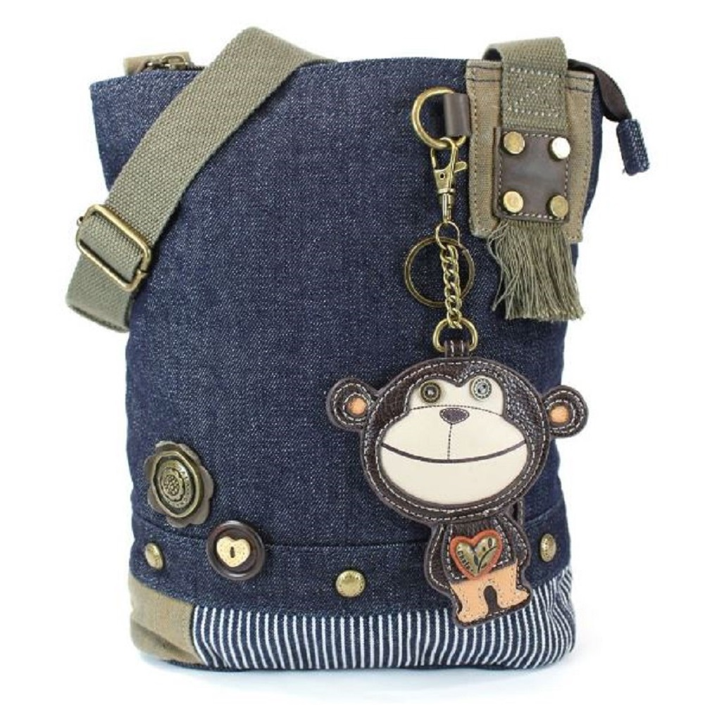 Chala Purse Handbag Denim Canvas Crossbody With Key Chain Tote Funky Monkey