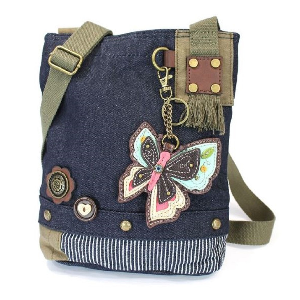 Chala Purse Handbag Denim Canvas Crossbody With Key Chain Tote New Butterfly