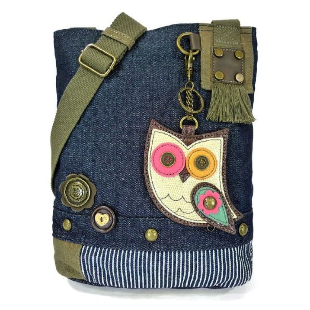 Chala Purse Handbag Denim Canvas Crossbody With Key Chain Tote  Hoot Hoot Owl