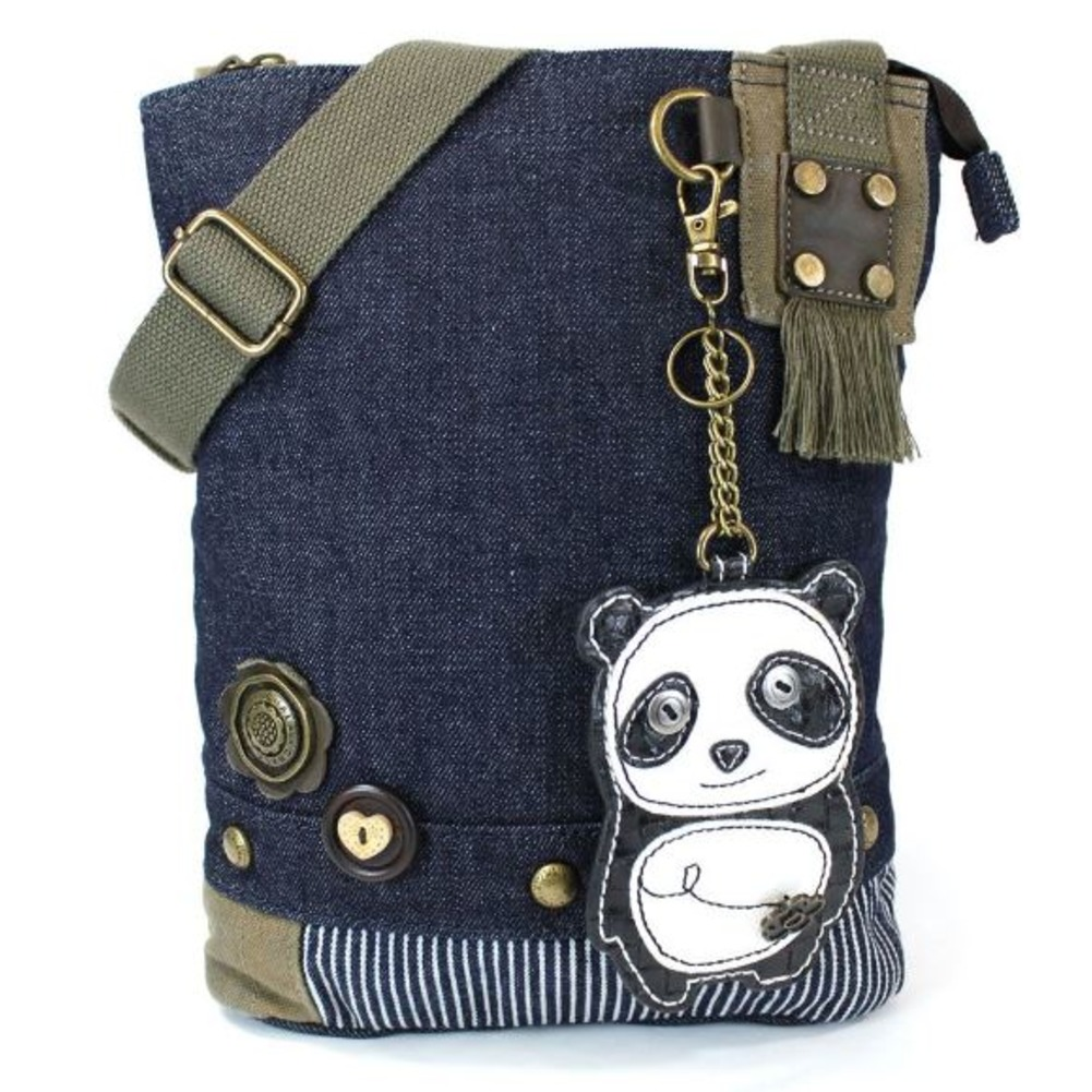 Chala Purse Handbag Denim Canvas Crossbody With Key Chain Tote  Panda Bear