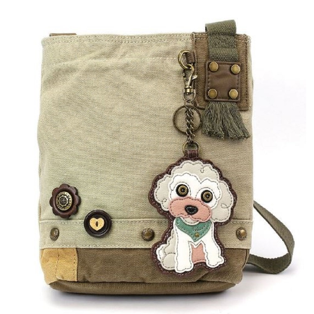 Chala Purse Handbag Sand Canvas Crossbody & Key Chain Tote Bag New Poodle  Dog