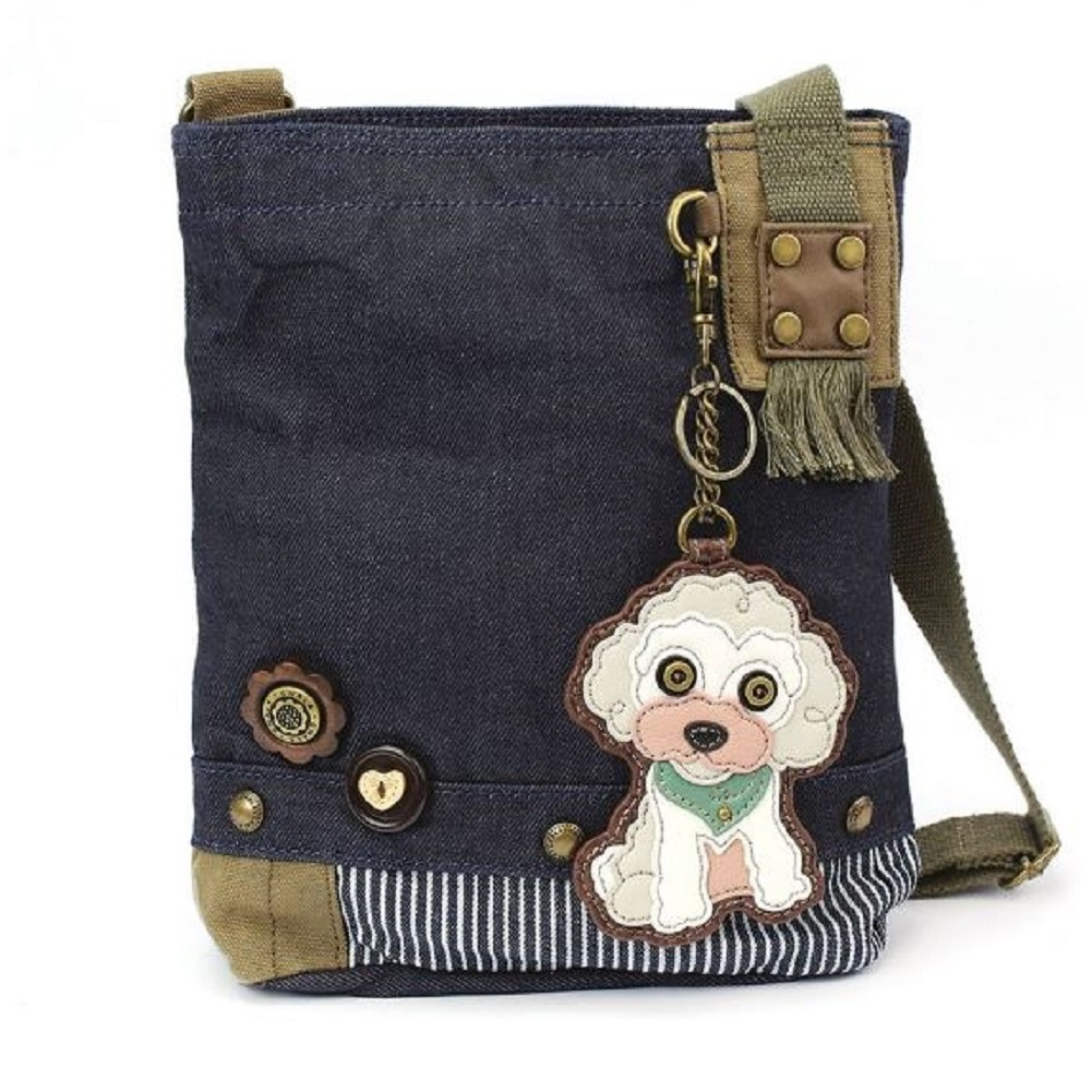 Chala Purse Handbag Denim Canvas Crossbody With Key Chain Tote  Poodle Puppy Dog