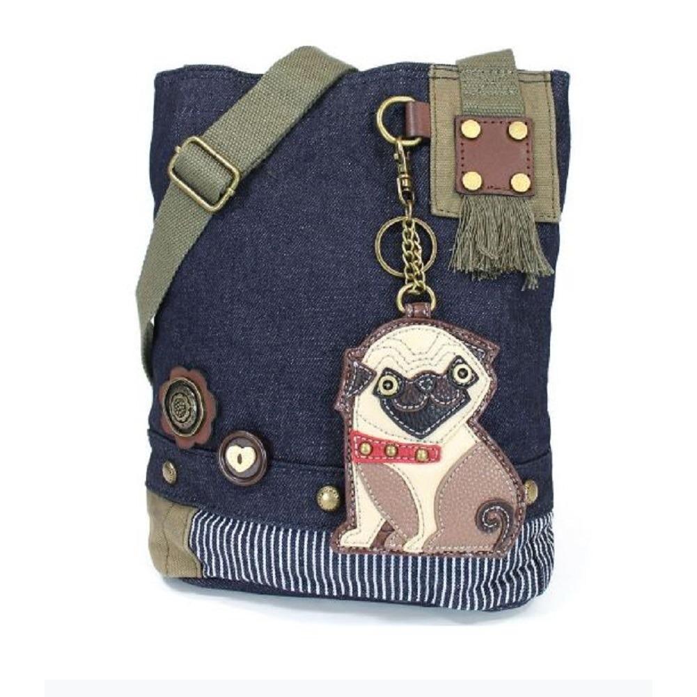 Chala Purse Handbag Denim Canvas Crossbody With Key Chain Tote  Pug Puppy Dog