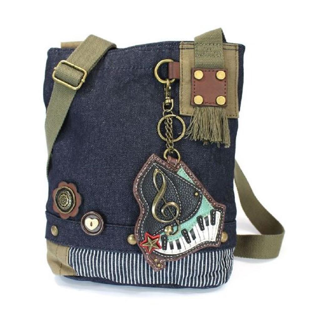 Chala Purse Handbag Denim Canvas Crossbody With Key Chain Tote  Keyboard Piano