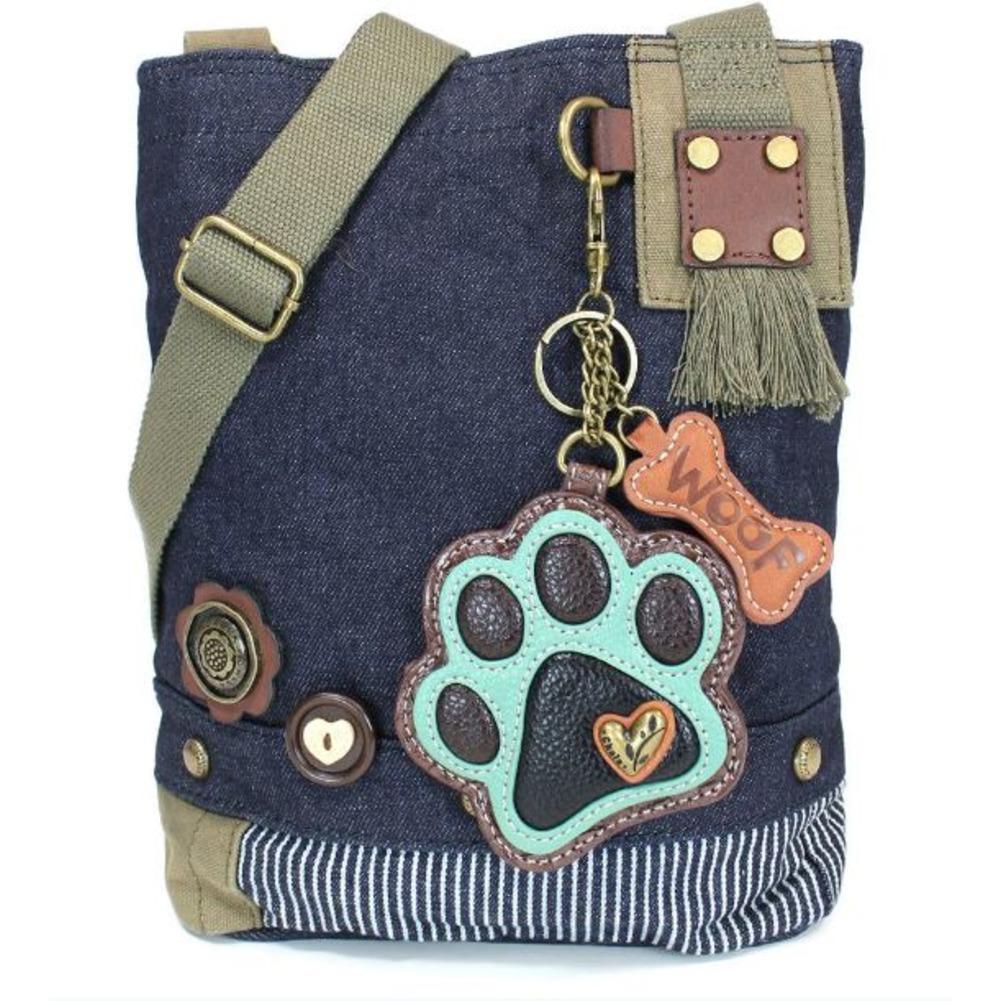 Chala Purse Handbag Denim Canvas Crossbody With Key Chain Tote  Dog Paw Print