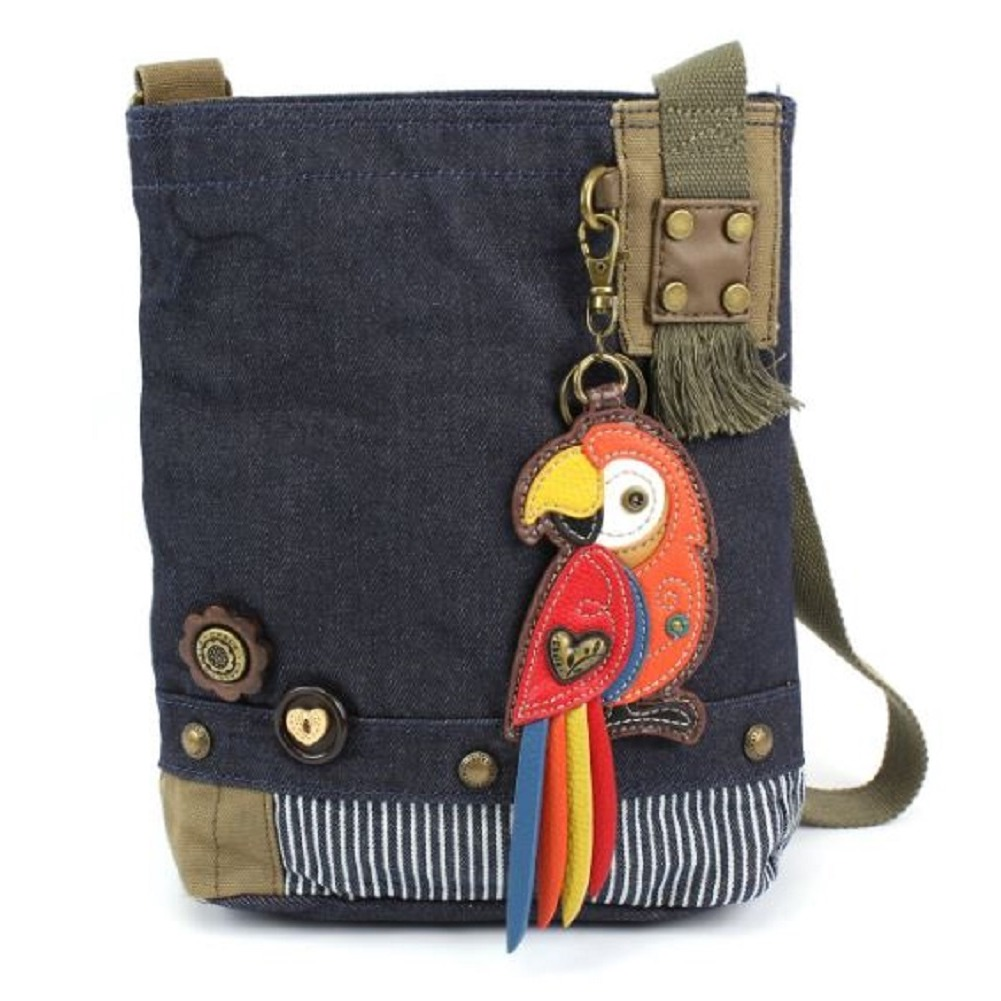 Chala Purse Handbag Denim Canvas Crossbody With Key Chain Tote  Red Parrot Bird