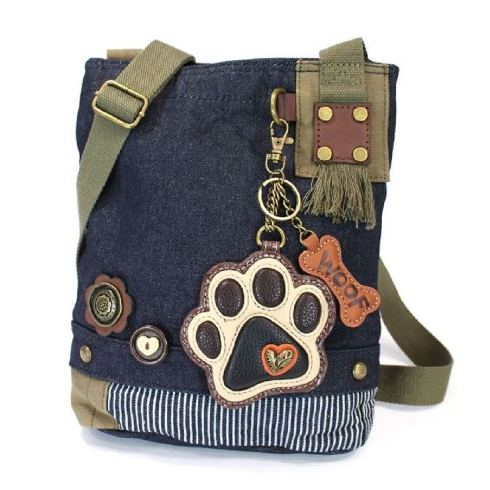 Chala Purse Handbag Denim Canvas Crossbody With Key Chain Tote  Puppy Paw Print