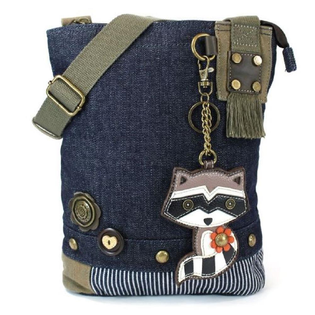 Chala Purse Handbag Denim Canvas Crossbody With Key Chain Tote  Raccoon