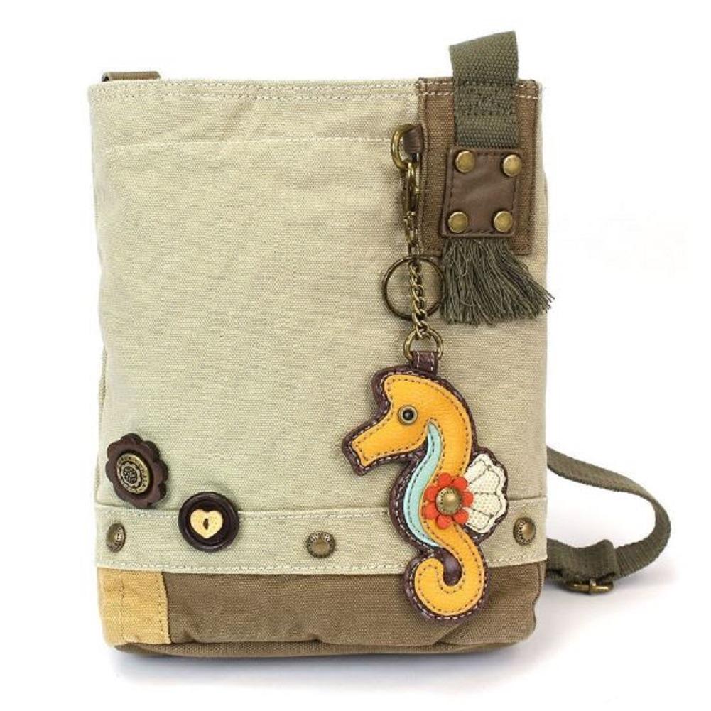 Chala Purse Handbag Sand Canvas Crossbody & Key Chain Tote Bag New Sea Horse