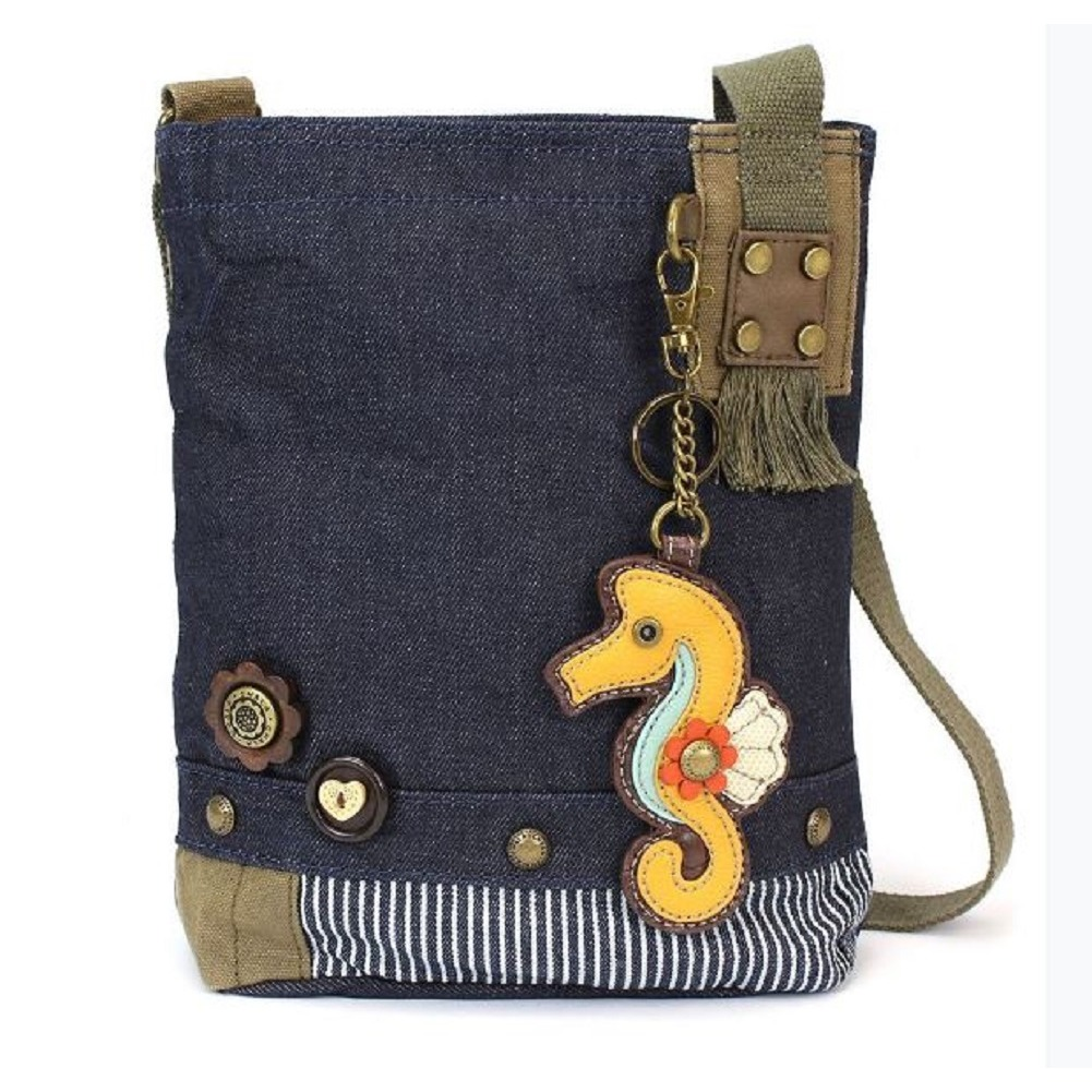 Chala Purse Handbag Denim Canvas Crossbody With Key Chain Tote  Sea Horse