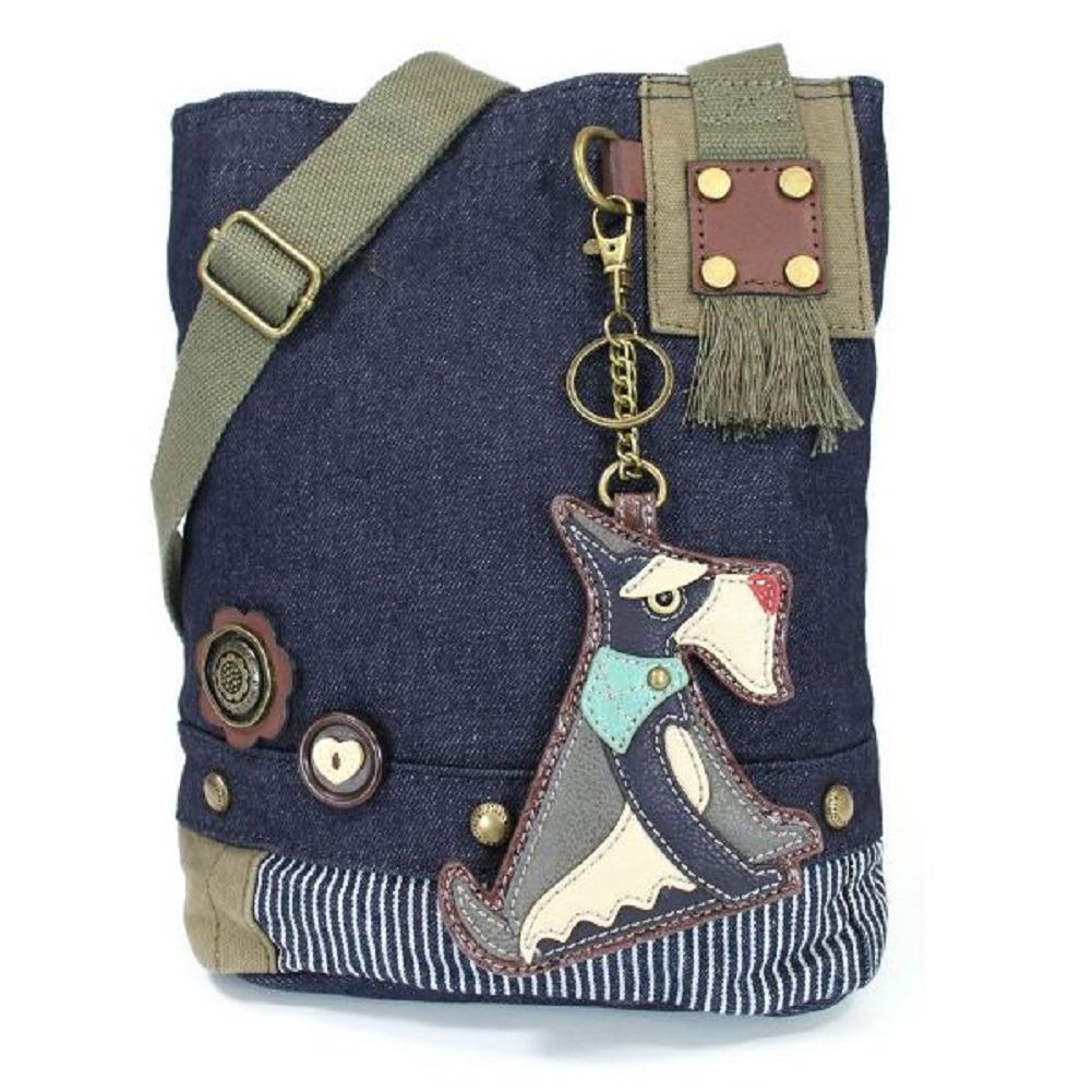 Chala Purse Handbag Denim Canvas Crossbody  Key Chain Tote  Schnauzer Puppy Dog