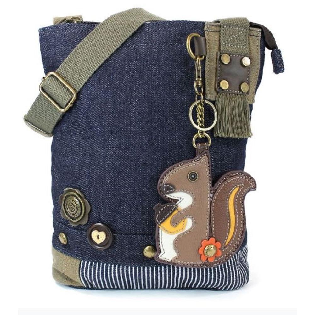 Chala Purse Handbag Denim Canvas Crossbody  with Key Chain Tote  Squirrel