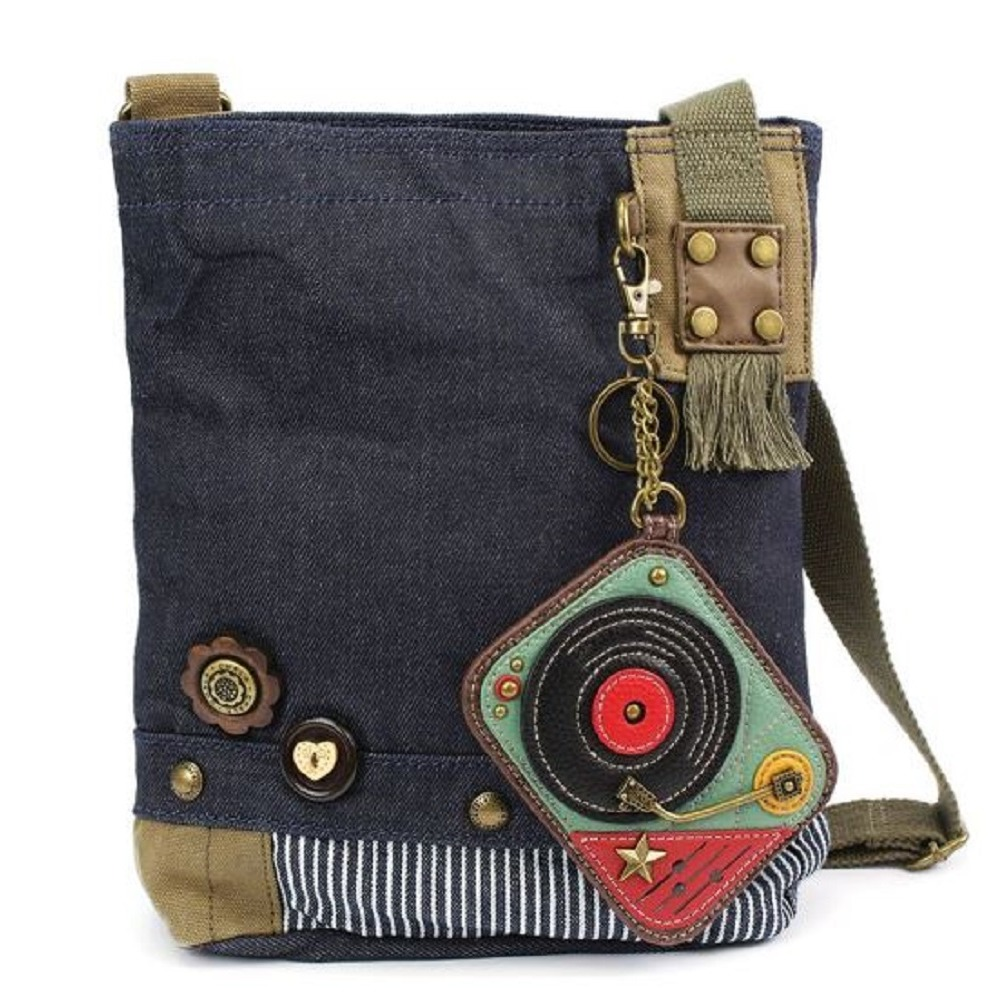 Chala Purse Handbag Denim Canvas Crossbody  with Key Chain Tote  Turn Table