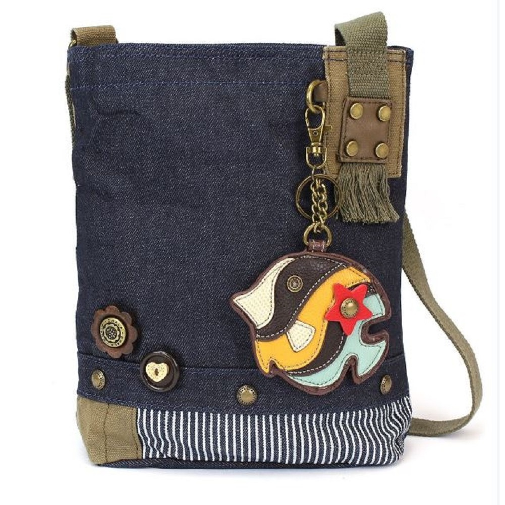 Chala Purse Handbag Denim Canvas Crossbody  with Key Chain Tote  Tropical Fish