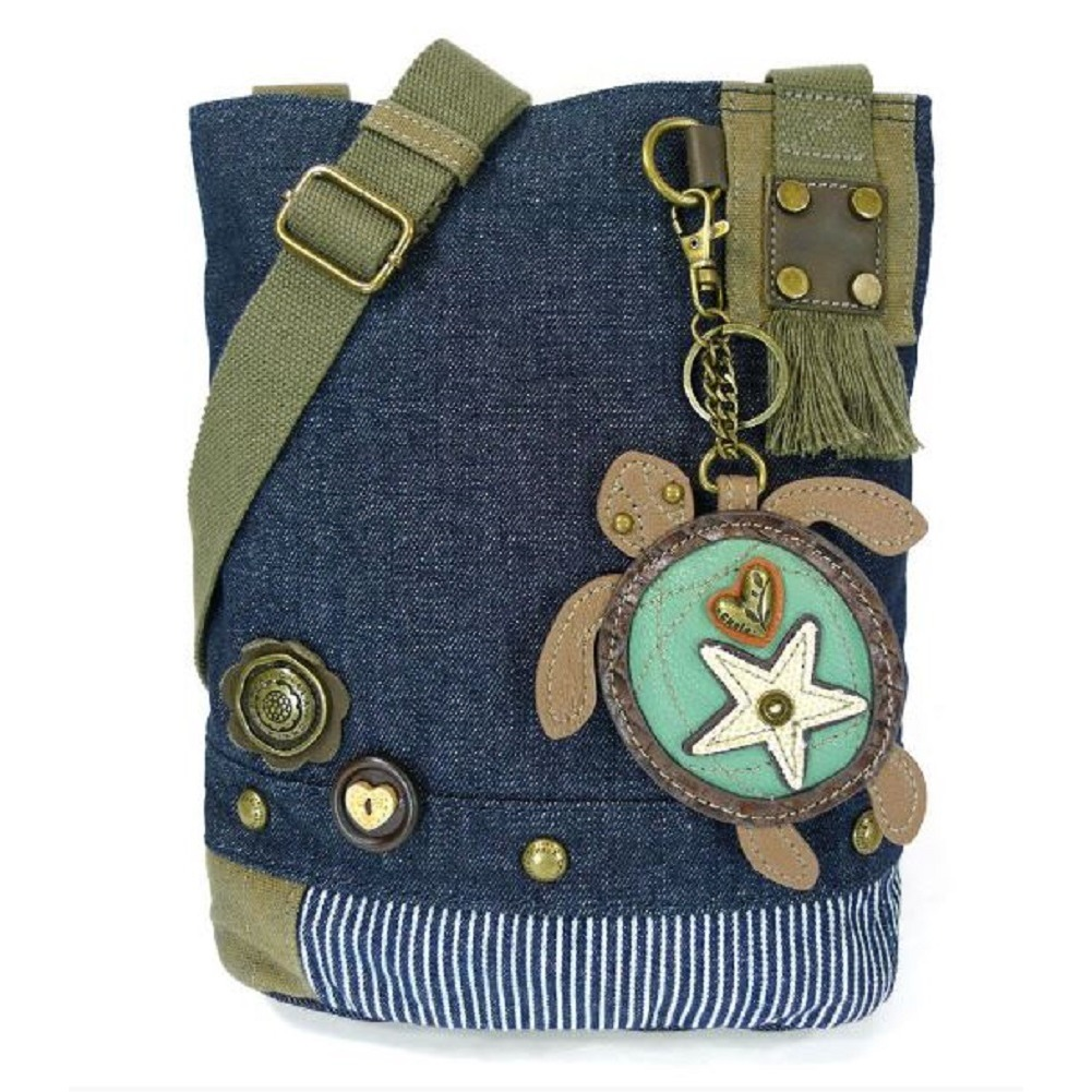 Chala Purse Handbag Denim Canvas Crossbody  with Key Chain Tote  Turtle