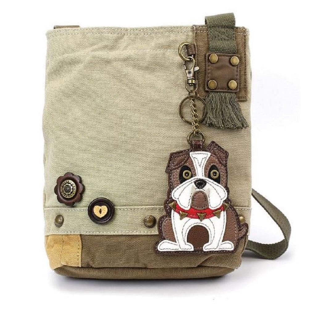 Chala Purse Handbag Sand Canvas Crossbody & Key Chain Tote Bag Bull Dog Puppy